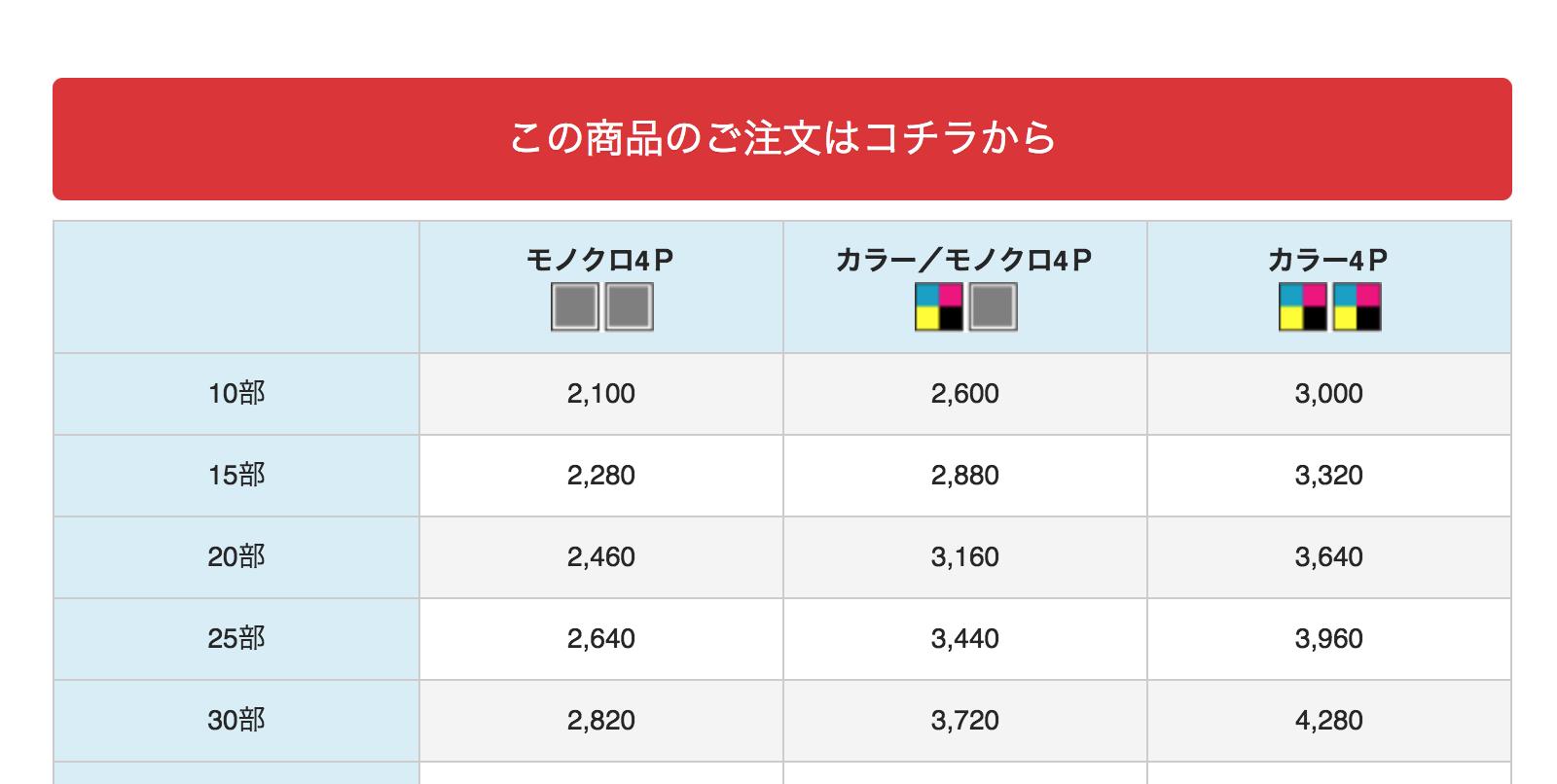 リーフレット価格表